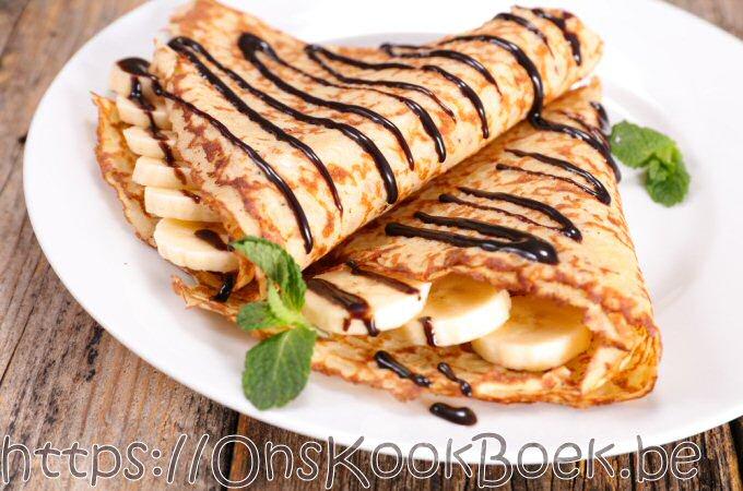 Pannenkoeken recept met chocolade en banaan