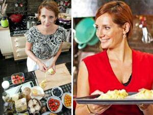 Sofie Dumont aan het werk in haar nieuw kookprogramma: De Keuken van Sofie